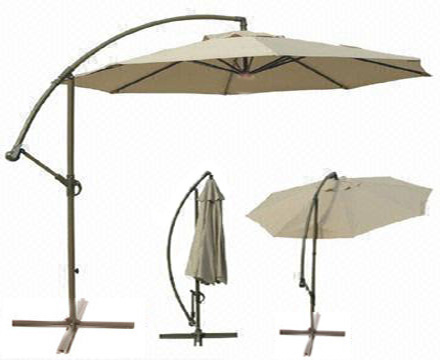 12036: Dia.3m steel ribs folding hanging parasol with alu. pole